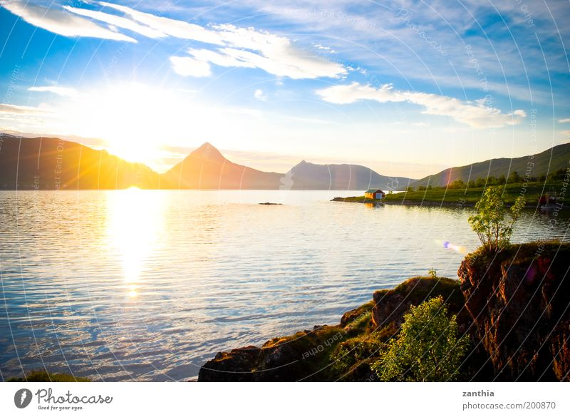 Nature Water Sky Sun Ocean Plant Summer Vacation & Travel Clouds Relaxation Mountain Landscape Air Contentment Moody Coast