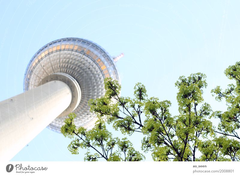 Television tower in spring Tourism TV set Technology Spring Summer Tree Berlin Germany Europe Capital city Downtown Tower Manmade structures Building