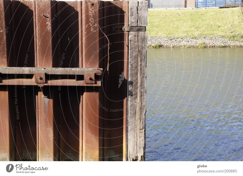 City, Country, River Water River bank Weser Harbour Inland navigation Dike Mole Metal Rust Claustrophobia Half Colour photo Exterior shot Deserted Day