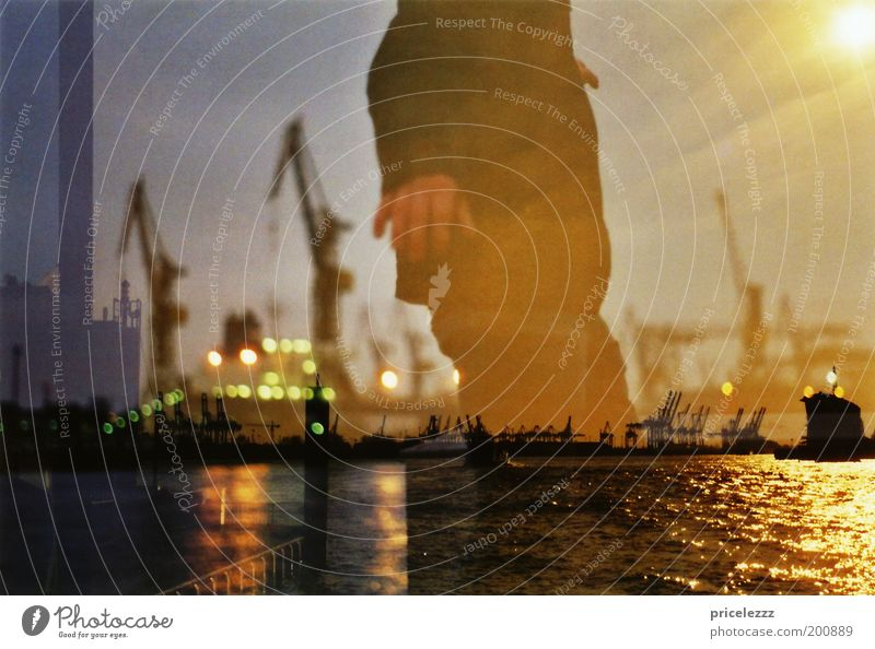 Human being Water Calm Loneliness Movement Contentment Glittering Masculine Hamburg Esthetic Port of Hamburg Harbour Concentrate Surrealism Double exposure
