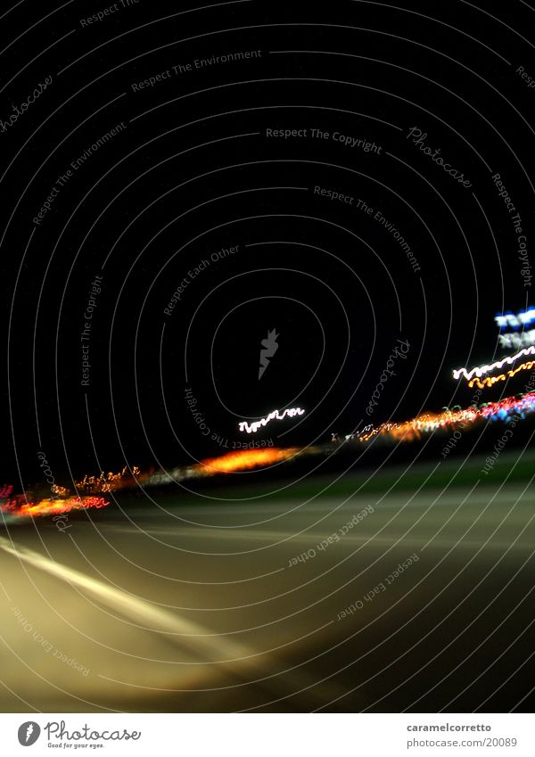 on the road again_01 Night Highway Speed Long exposure Transport Street Light