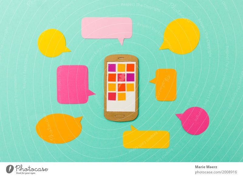 Mobile Marketing & Communication - Mobile phone with speech bubbles Lifestyle Telephone Cellphone PDA Telecommunications Work and employment Communicate Modern