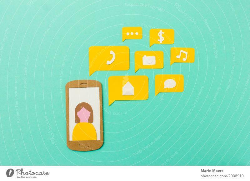 Human being Woman Adults Yellow Lifestyle To talk Feminine Modern Communicate Success Telecommunications Future Speed Shopping Illustration Telephone