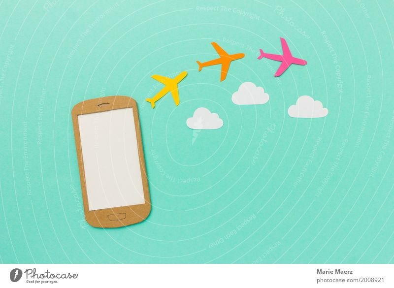 Mobile - Book a flight Vacation & Travel Summer Cellphone PDA Internet Aviation Airplane Flying Shopping Cool (slang) Hip & trendy Modern Anticipation Planning