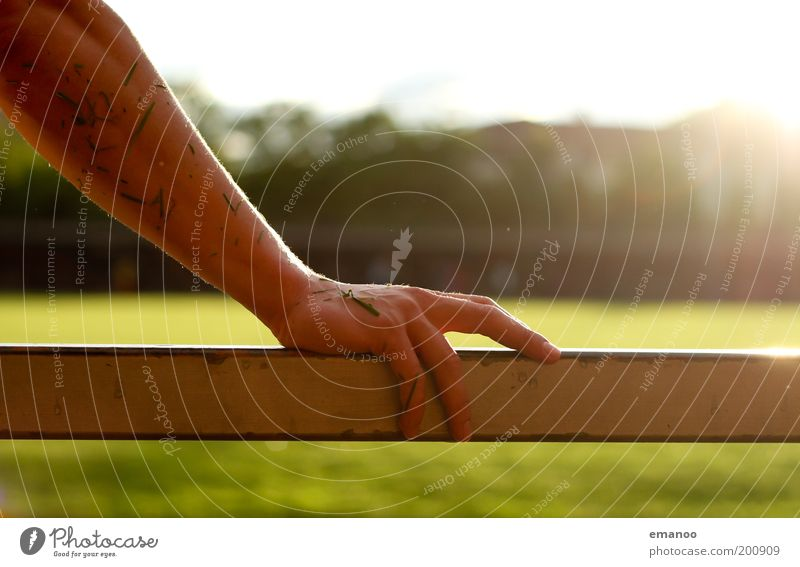 poor in grass Sun Sporting Complex Football pitch Human being Masculine Arm Hand Fingers 1 Grass To hold on Wet Warmth Power Handrail Metal Damp Underarm