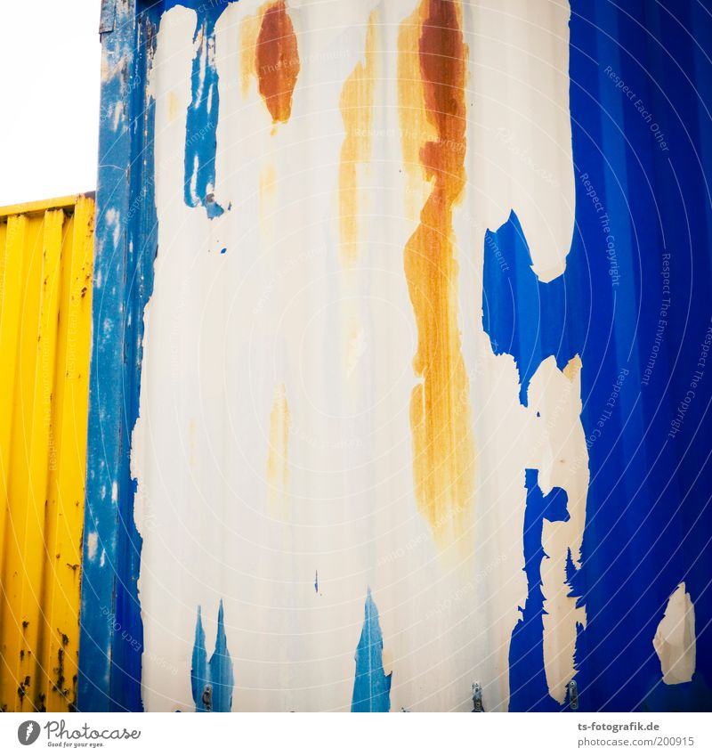 defoliated blue Container cargo Flake off Wall (barrier) Wall (building) Transport Logistics Metal Iron Rust Gate Graffiti Stand Esthetic Sharp-edged Uniqueness