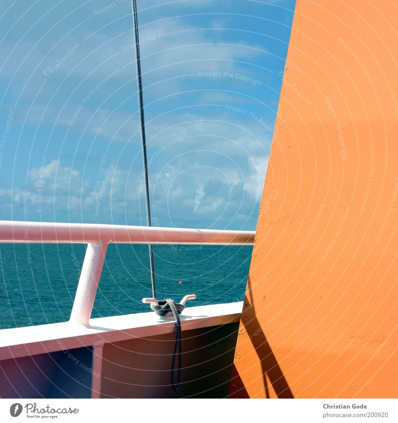 ferry Vacation & Travel Tourism Trip Far-off places Freedom City trip Cruise Summer Summer vacation Ocean Waves Metal Blue Sky Clouds Ferry Ferry harbour Rope