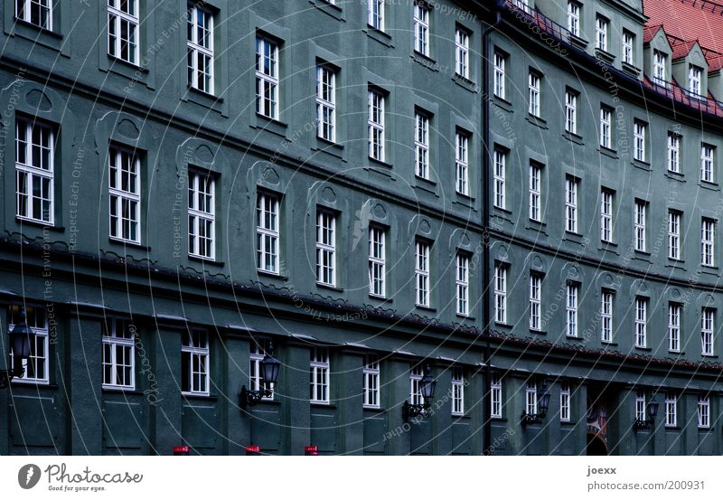 Grey cells House (Residential Structure) Architecture Facade Window Gray Red Munich dreariness Gloomy Line Row Colour photo Exterior shot Day