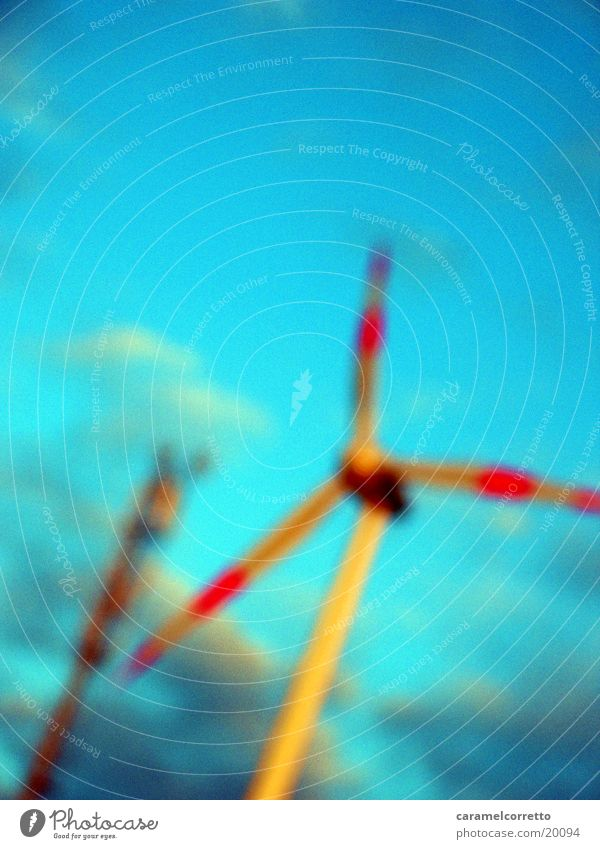 windmill Clouds Wind energy plant Electrical equipment Technology Sky Movement Blue Energy industry