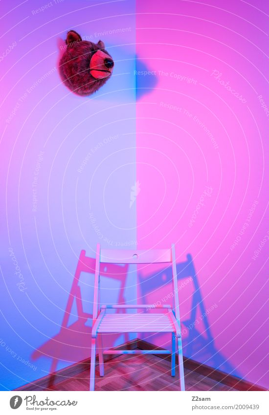 between the two sides Architecture Esthetic Simple Elegant Kitsch Modern Blue Pink Design Colour Arrangement Pure Calm Bear Chair Corner Living room Still Life