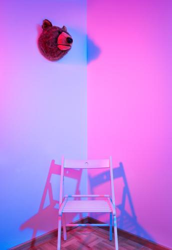 between the two sides Architecture Esthetic Simple Elegant Kitsch Modern Blue Pink Design Colour Arrangement Pure Calm Bear Chair Corner Living room Still Life