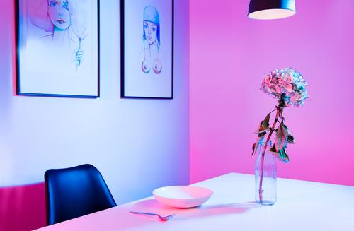 Blue Colour Loneliness Calm Architecture Interior design Art Lamp Pink Design Living or residing Modern Elegant Creativity Table Clean