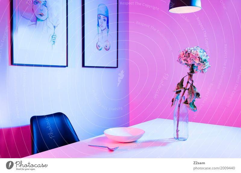 style Art Exhibition Architecture Vase Table Chair Painting and drawing (object) Image Lamp Elegant Kitsch Modern Clean Blue Pink Design Loneliness Colour