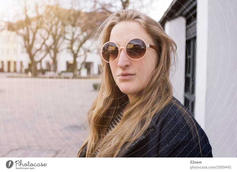 Sunday stroll Lifestyle Young woman Youth (Young adults) 18 - 30 years Adults Autumn Beautiful weather Village Small Town Places Coat Sunglasses Blonde