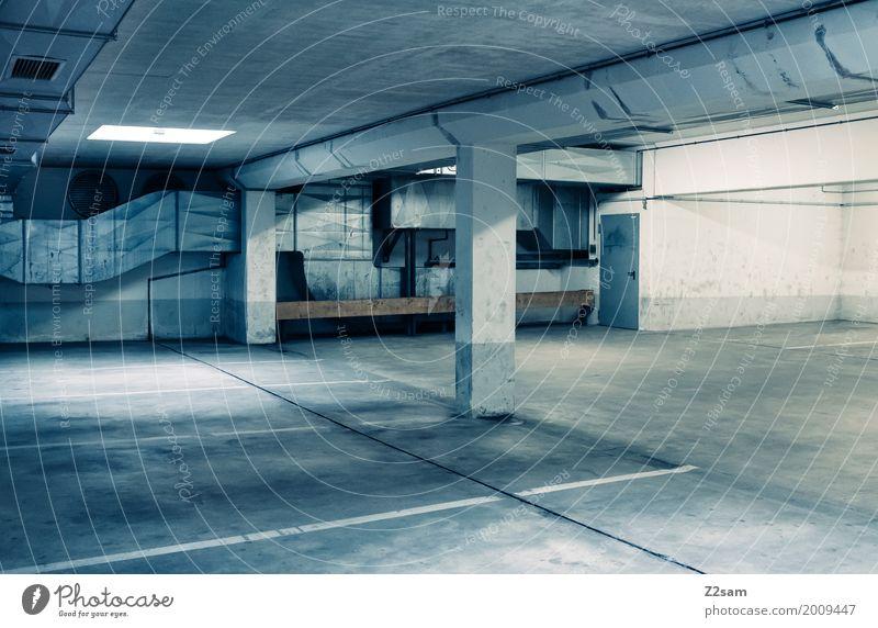 TG Town Industrial plant Factory Building Architecture Underground garage Dark Sharp-edged Elegant Large Cold Modern Calm Loneliness Colour Arrangement Pure
