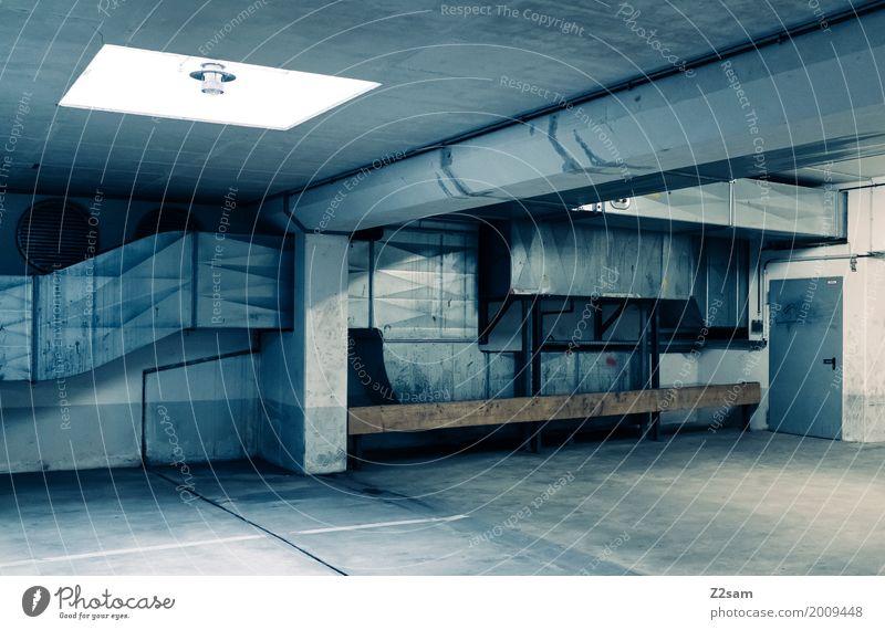 TG Town Manmade structures Building Architecture Underground garage Ventilation shaft Esthetic Dirty Dark Sharp-edged Cold Modern Trashy Blue Design Loneliness