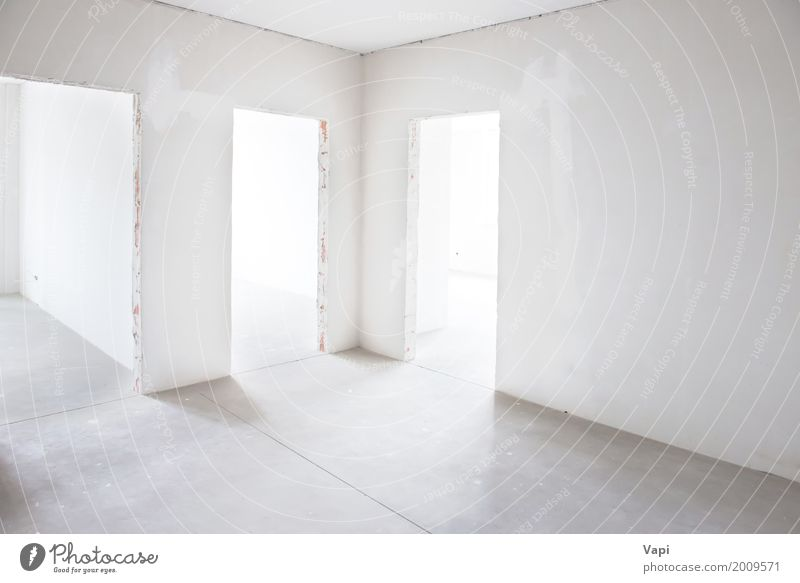 White room with three entrances House (Residential Structure) Architecture Wall (building) Interior design Style Building Wall (barrier) Gray Design