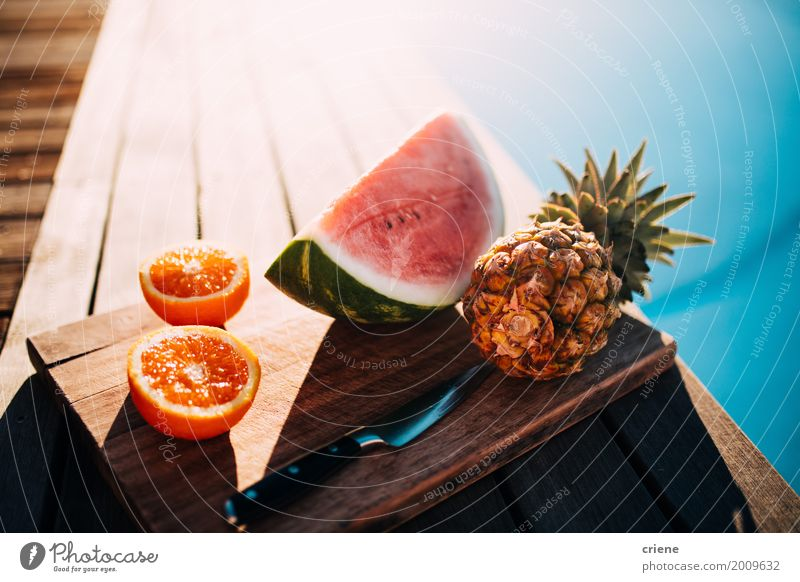 Healthy fruit platter with pineapple, oranges and watermelon Food Fruit Orange Nutrition Eating Diet Knives Swimming pool Vacation & Travel Summer Sun Beautiful