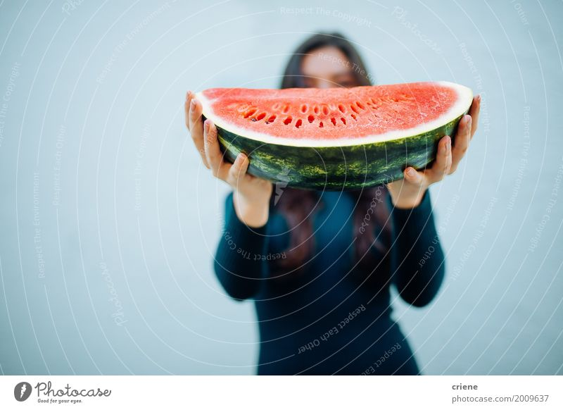 Woman holding watermelon in hands Human being Woman Youth (Young adults) Blue Summer Colour Beautiful Young man Hand Adults Eating Lifestyle Healthy Feminine Happy Food