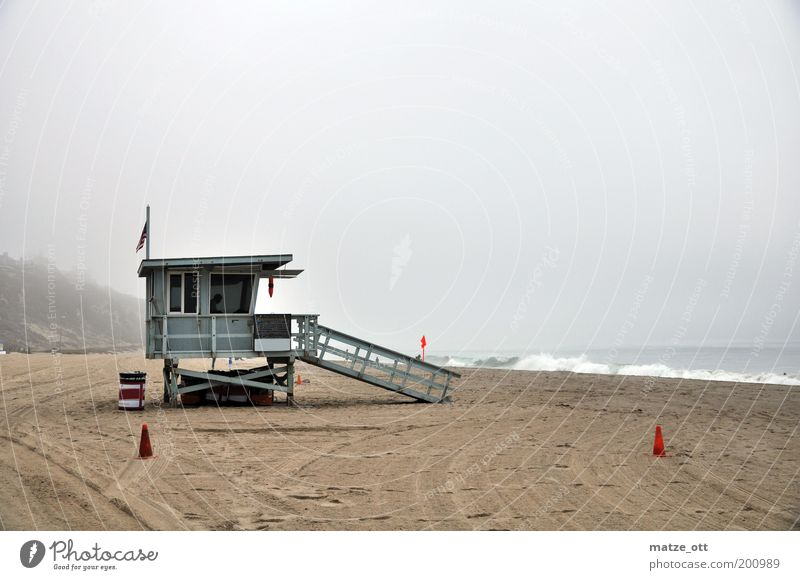 No sun in California Leisure and hobbies Vacation & Travel Tourism Summer Beach Ocean Waves Nature Sand Water Fog Coast Bay Cold Gloomy Lifeguard Calm Boredom