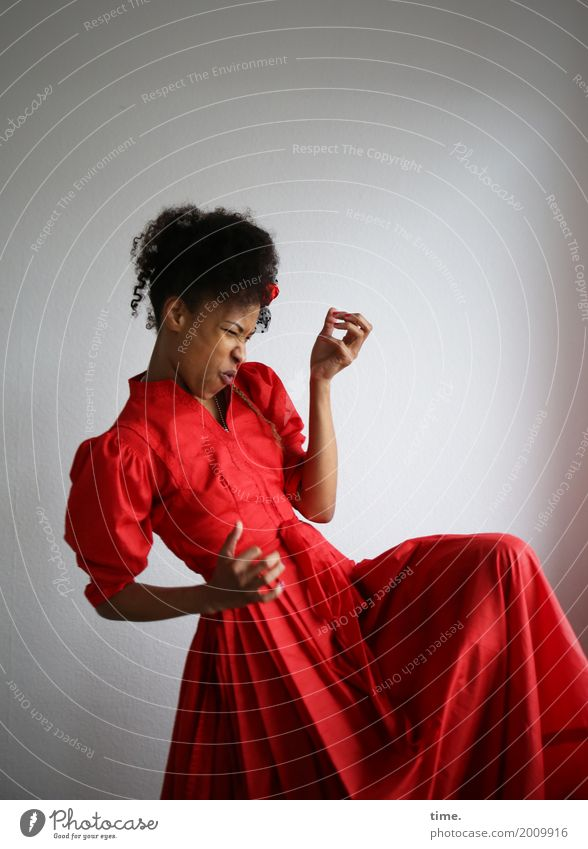 Human being Woman Beautiful Red Joy Adults Life Movement Feminine Hair and hairstyles Wild Esthetic Music Creativity Dance Joie de vivre (Vitality)
