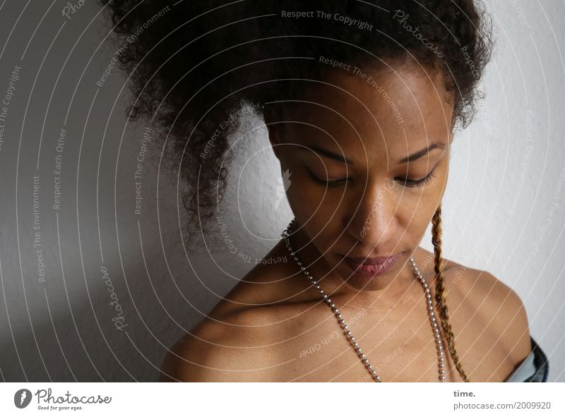 . Room Feminine Woman Adults 1 Human being Shirt Jewellery Hair and hairstyles Curl Braids Afro Listen to music Dream Sadness Beautiful Soft Emotions Concern