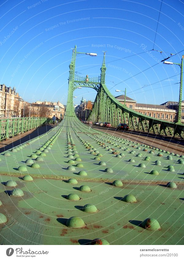 bridge_in_Budapest_02 Green Worm's-eye view Scaffolding Bridge Hungarian Metal Rivet metal rivets metal bridge Colour green Blue sky Architecture