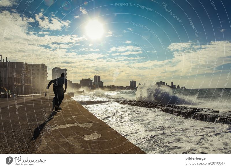 Human being Nature Sun Ocean Sports Masculine Island Walking Photography Capital city Old town Downtown Environmental protection Surf Port City Promenade