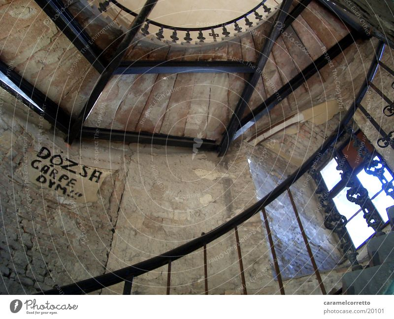 stairwell Staircase (Hallway) Stairs Worm's-eye view Scaffolding Budapest Brown Architecture Metal Hungarian Old Stone black balustrade Handrail