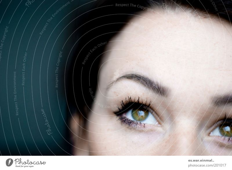 Woman Beautiful Green Eyes Feminine Dream Think Adults Hope Future Upward Face Human being Belief Eyelash