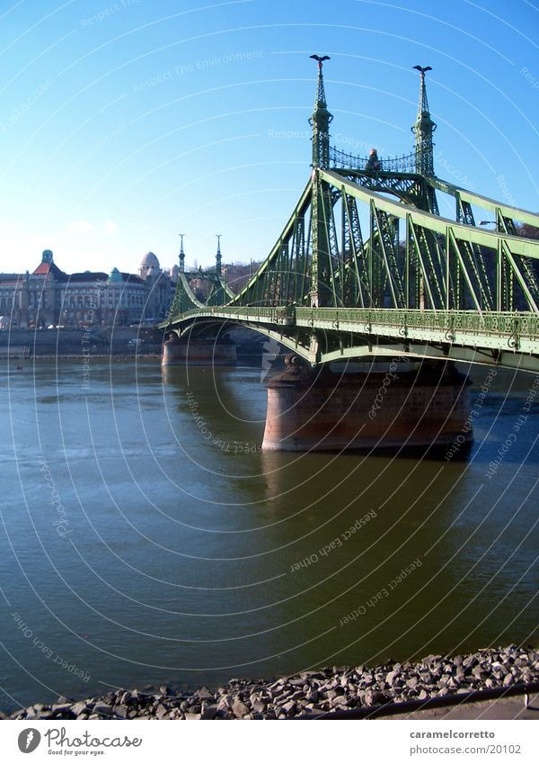 Water Green Bridge River River bank Budapest Hungarian Gellert baths