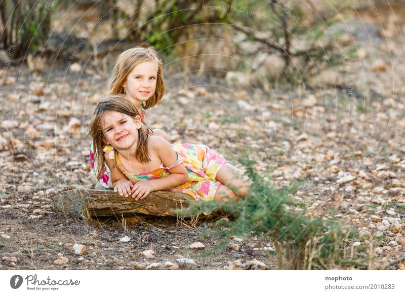 sisters Vacation & Travel Far-off places Safari Summer Summer vacation Kindergarten Child Human being Feminine Girl Brothers and sisters Sister