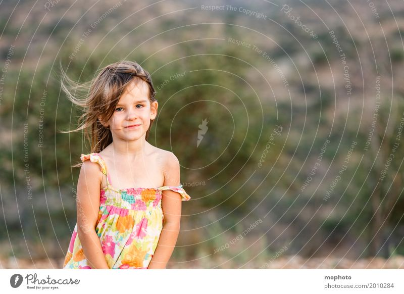 Human being Child Nature Landscape Girl Face Life Feminine Moody Dream Blonde Infancy Stand Smiling Cute Friendliness