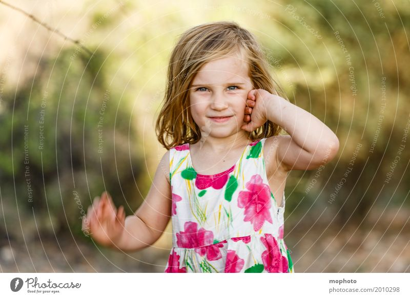 Human being Child Nature Landscape Girl Life Lifestyle Park Blonde Infancy Stand Smiling Happiness Cute Friendliness Dress