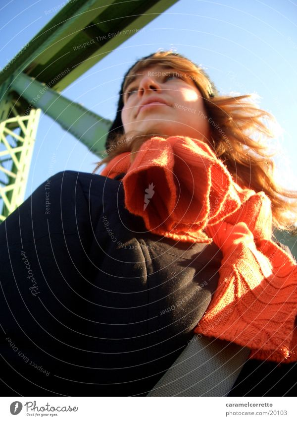 Woman Winter Orange Blonde Bridge Long-haired Scarf Blue sky Budapest