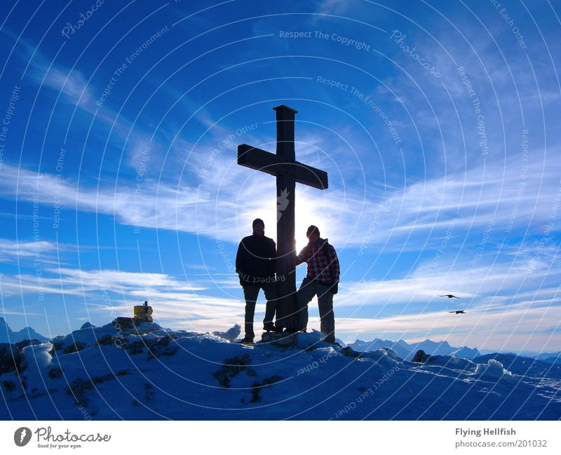 Summit at the Untersberg Clouds Winter Mountain Peak Freedom lower mountain Colour photo Exterior shot Day Peak cross Mountaineering Objective achievement
