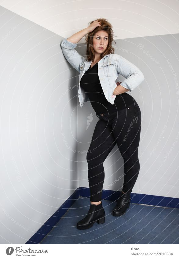 Anne Staircase (Hallway) Feminine Woman Adults 1 Human being T-shirt Pants Jacket Boots Brunette Long-haired Observe To hold on Looking Stand Beautiful