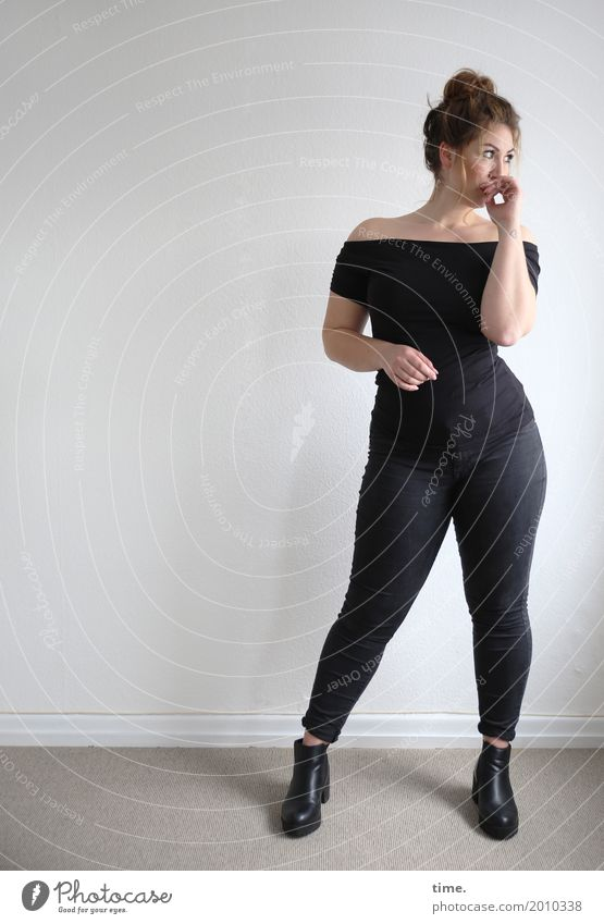 Anne Room Feminine Woman Adults 1 Human being T-shirt Pants Boots Brunette Long-haired Braids Observe Looking Stand Esthetic Elegant Large Curiosity Beautiful