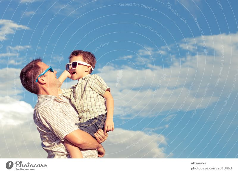 Father and son playing in the park at the day time. Child Nature Vacation & Travel Man Summer Sun Relaxation Joy Beach Adults Life Lifestyle Love Emotions