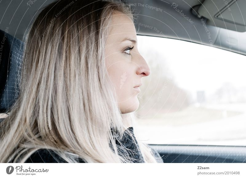 drive drive Feminine Young woman Youth (Young adults) 18 - 30 years Adults Town Motoring Street Crossroads Blonde Long-haired Driving Beautiful Natural Fatigue
