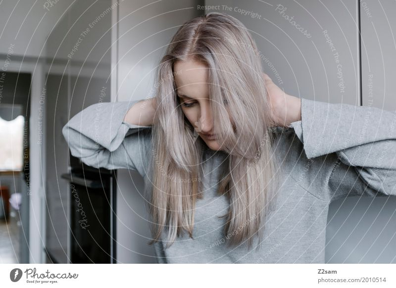 lost Elegant Style Living or residing Flat (apartment) Feminine Young woman Youth (Young adults) 18 - 30 years Adults Sweater Blonde Long-haired Touch Sit