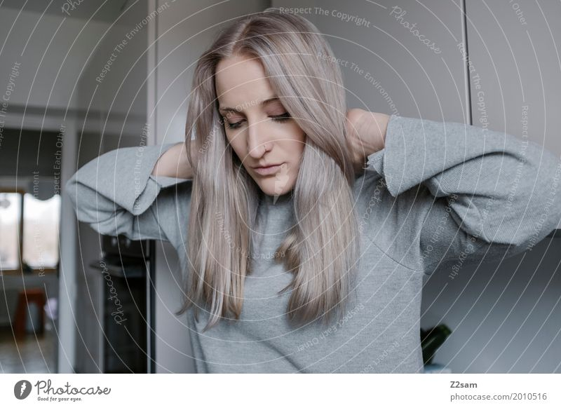 hair day Lifestyle Elegant Style Living or residing Flat (apartment) Feminine Young woman Youth (Young adults) 18 - 30 years Adults Sweater Blonde Gray-haired