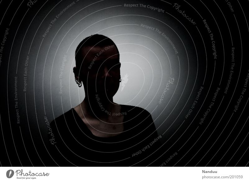 Human being Dark Feminine Anonymous Copy Space Androgynous Unrecognizable Placeholder Data protection Shadowy existence