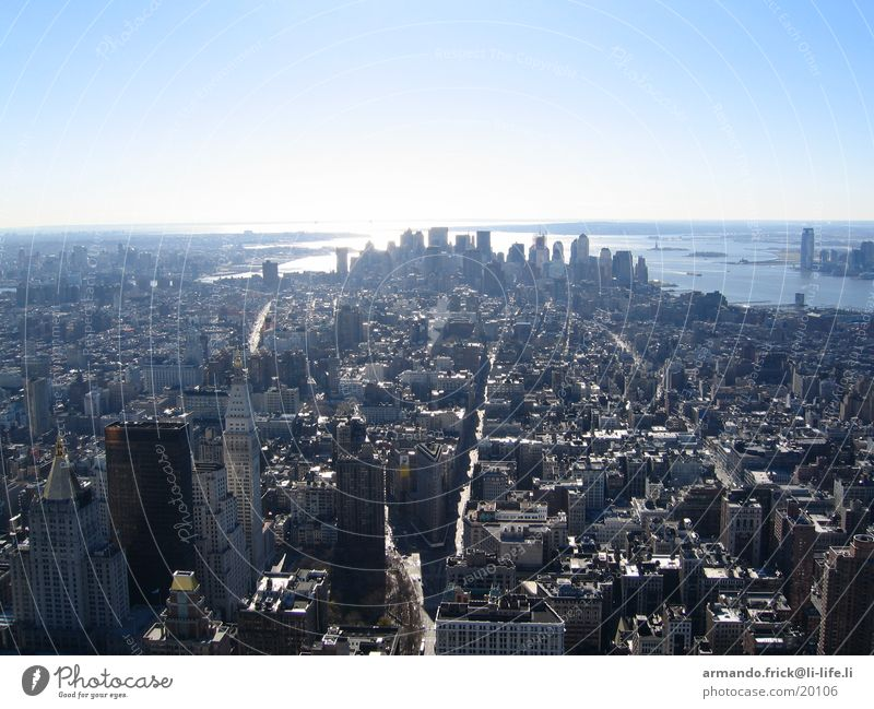 Skyline New York New York City Bird's-eye view Empire State building North America Blue sky cloudless Vantage point