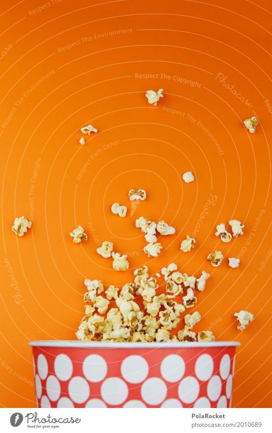 #A# Popcorn Cinema Art Work of art Esthetic Motion picture Orange Delicious Unhealthy Nutrition Spotted Fast food Snack Snackbar Many Colour photo Multicoloured