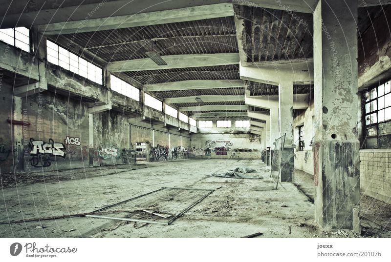 Old Green Dark Graffiti Factory Construction site Transience Decline Ruin Column Culture Slaughterhouse Tumbledown Shut down Industrial site