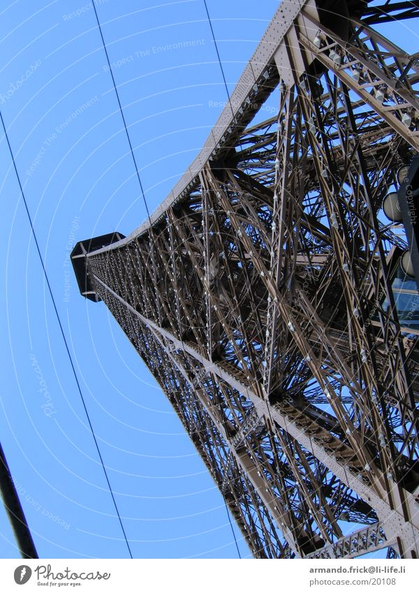 Eiffel Tower Vantage point Paris Europe Blue sky Metal Architecture