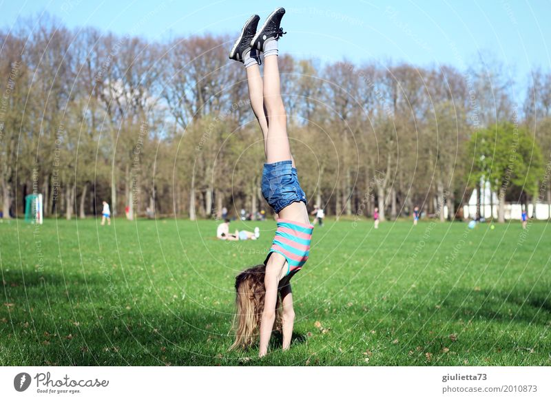 Handstand in April Joy Leisure and hobbies Playing Summer Sports Fitness Sports Training Gymnastics Yoga Child Girl Young woman Youth (Young adults) Infancy 1