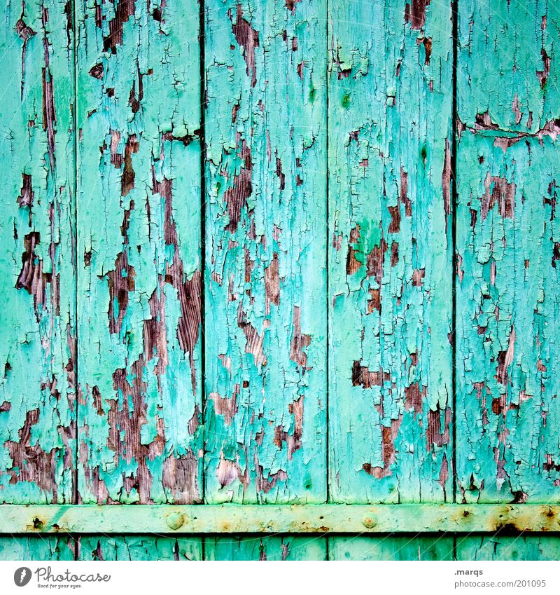 change Design Construction site Facade Wood Old Simple Broken Beautiful Colour Symmetry Decline Change Flake off Turquoise Background picture Colour photo