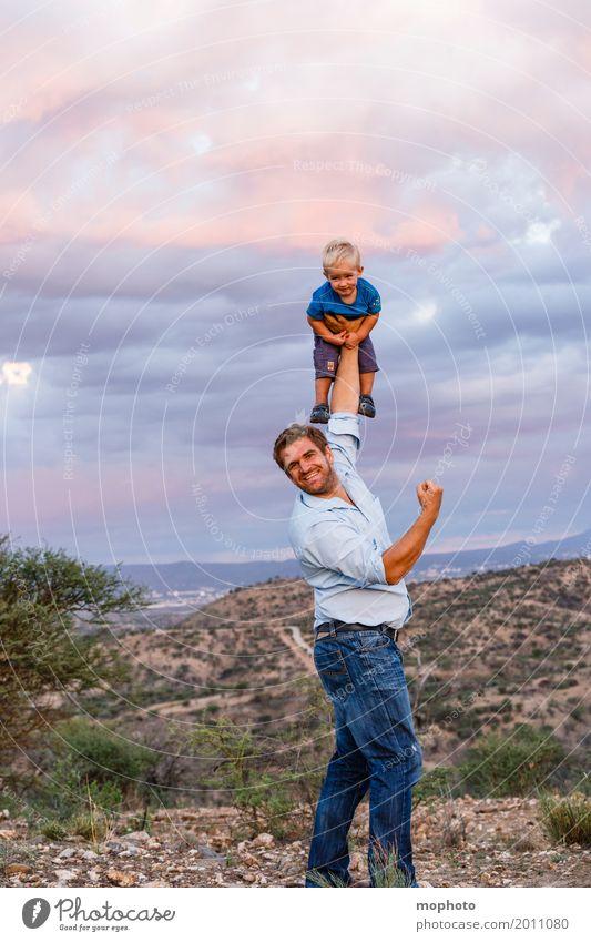Human being Child Man Landscape Joy Adults Life Boy (child) Happy Above Friendship Leisure and hobbies Wild Masculine Power Infancy